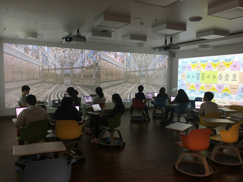 The Future Classroom in use displaying Rennaissance Era art and material.