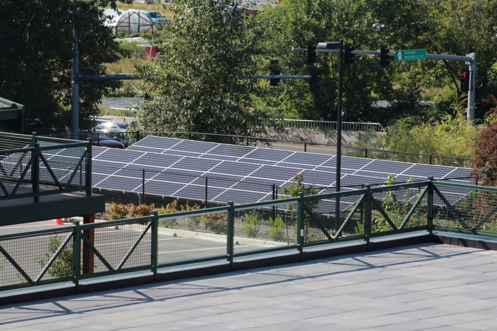 Solar panels set up on the northwest corner of the campus.